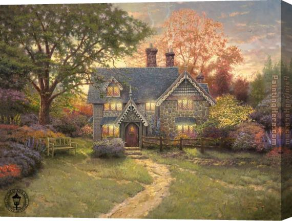 Thomas Kinkade Gingerbread Cottage Stretched Canvas Painting