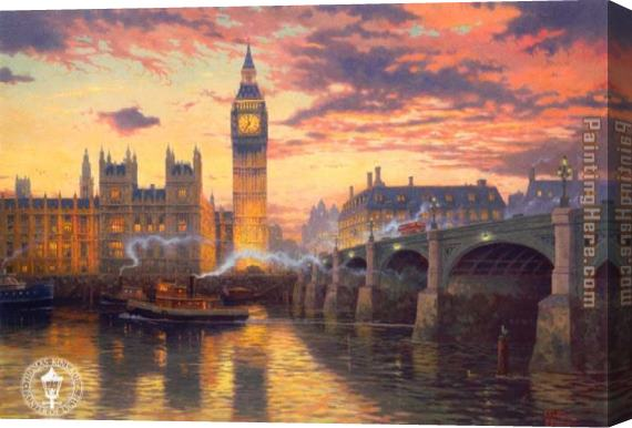 Thomas Kinkade London Stretched Canvas Painting