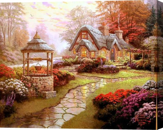 Thomas Kinkade Make a Wish Cottage 2 Stretched Canvas Painting