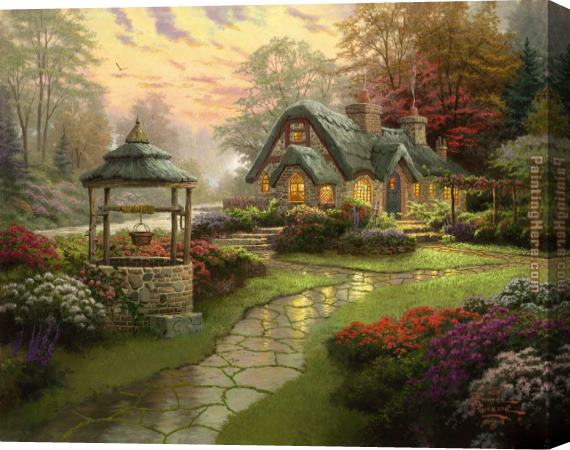 Thomas Kinkade Make a Wish Cottage Stretched Canvas Painting