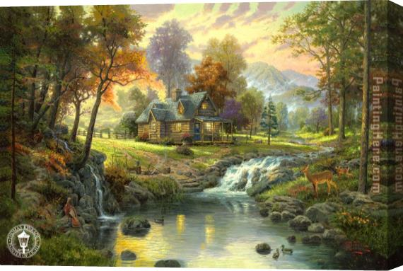 Thomas Kinkade mountain retreat Stretched Canvas Painting