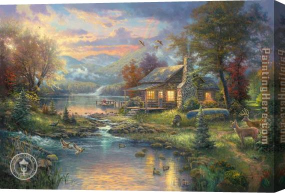 Thomas Kinkade Natures Paradise Stretched Canvas Painting