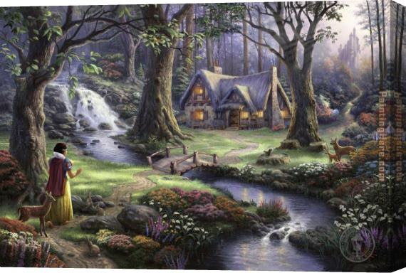 Thomas Kinkade Snow White discovers the cottage Stretched Canvas Painting