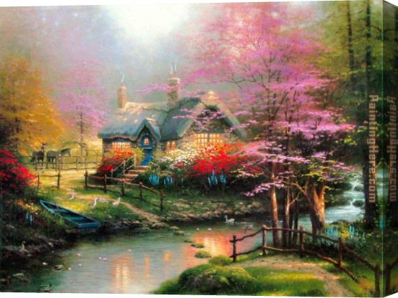 Thomas Kinkade Stepping Stone Cottage Stretched Canvas Painting