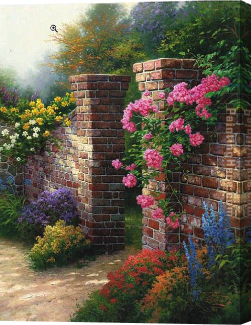 Thomas Kinkade The Rose Garden Stretched Canvas Painting