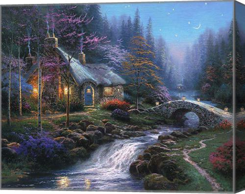 Super Thomas Kinkade Twilight Cottage Stretched Canvas Painting Home Interior And Landscaping Ologienasavecom