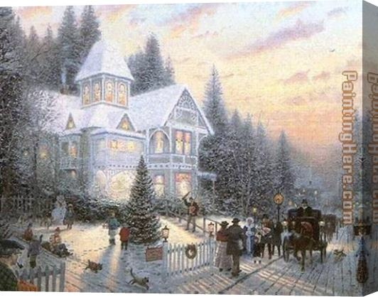 Thomas Kinkade Victorian Christmas Stretched Canvas Painting