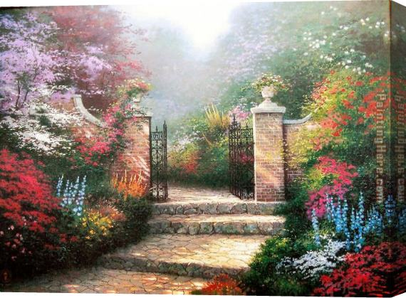 Thomas Kinkade Victorian Garden Stretched Canvas Painting