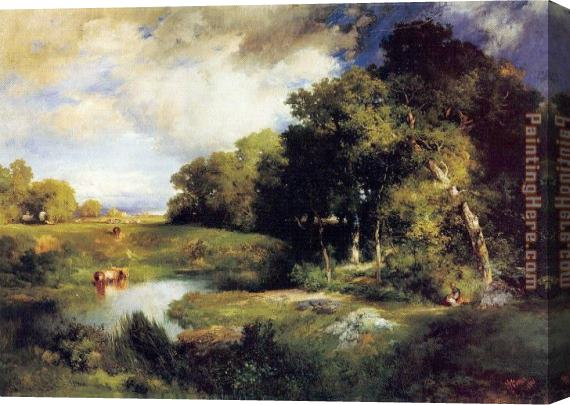Thomas Moran A Pastoral Landscape Stretched Canvas Painting