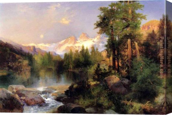 Thomas Moran The Three Tetons Stretched Canvas Painting