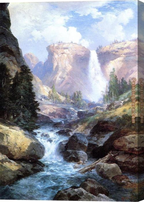 Thomas Moran Waterfall in Yosemite Stretched Canvas Painting