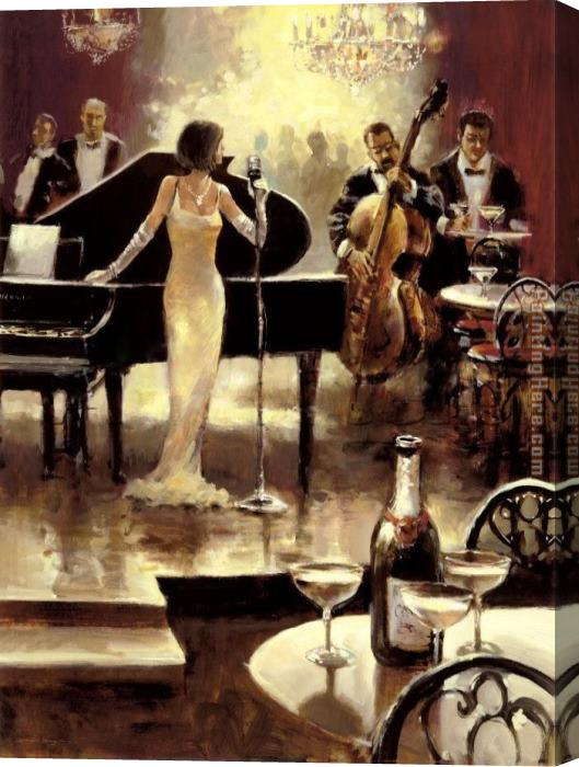 Unknown Artist Brent Heighton Jazz Night Out Stretched Canvas Painting