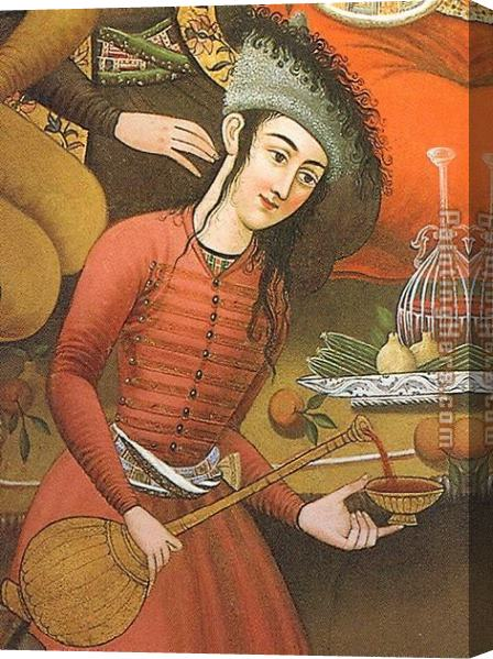 Unknown Artist Persian woman pouring wine Stretched Canvas Painting
