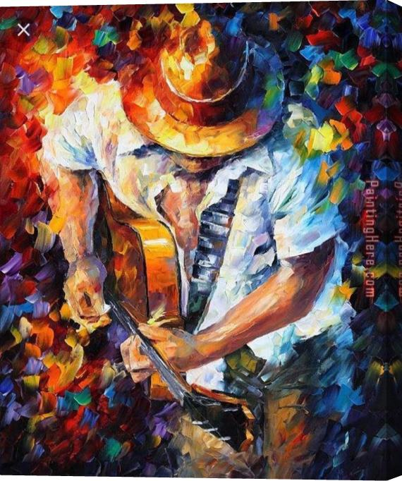 Unknown Artist Playing The Guitar Stretched Canvas Painting