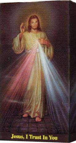 Unknown Artist portrait of jesus of divine mercy Stretched Canvas Painting