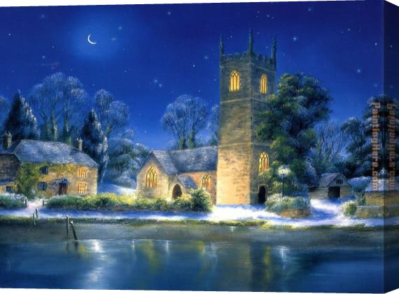 Unknown Artist River Church Stretched Canvas Painting