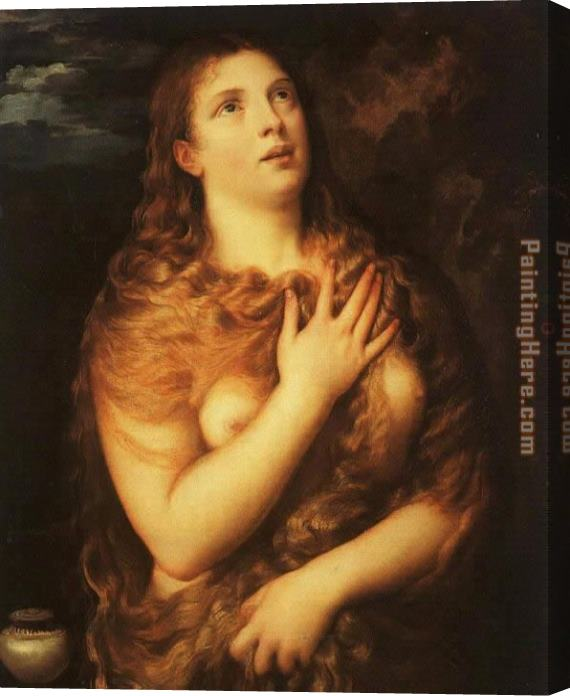 Unknown Artist Saint Mary Magdalene By Titian Stretched Canvas Painting
