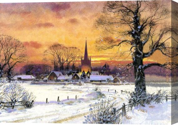 Unknown Artist Snow Church Stretched Canvas Painting