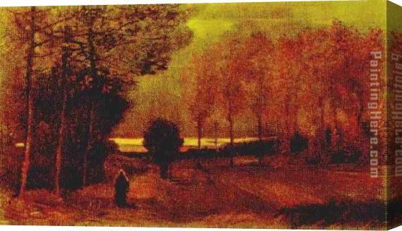 Vincent van Gogh Autumn landscape at dusk Stretched Canvas Painting