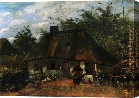 Vincent van Gogh Cottage and Woman with Goat Stretched Canvas Painting