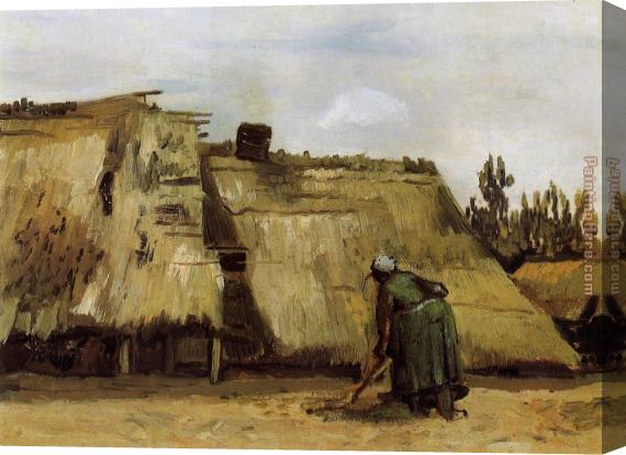 Vincent van Gogh Cottage with Woman Digging Stretched Canvas Painting