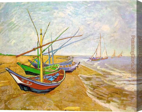 Vincent van Gogh Fishing Boats on the Beach Stretched Canvas Painting