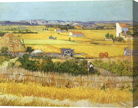 Vincent van Gogh Harvest at La Crau_ with Montmaiour in the Background Stretched Canvas Painting