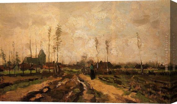 Vincent van Gogh Landscape with Church and Farms Stretched Canvas Painting
