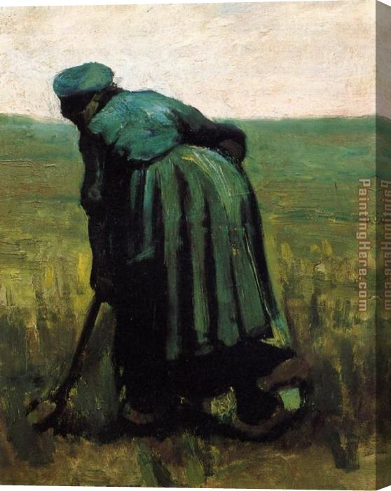 Vincent van Gogh Peasant Woman Digging Stretched Canvas Painting
