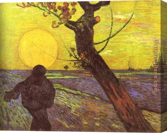 Vincent van Gogh Sower with Setting Sun After Millet Stretched Canvas Painting