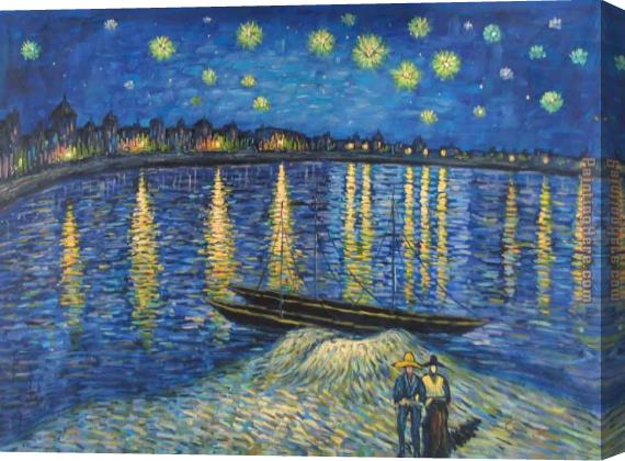 Vincent van Gogh Starry Night Over the Rhone 2 Stretched Canvas Painting