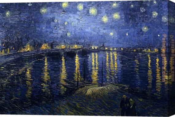 Vincent van Gogh Starry Night over the Rhone Stretched Canvas Painting