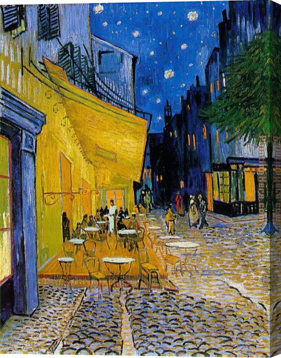 Vincent van Gogh The Cafe Terrace Stretched Canvas Painting