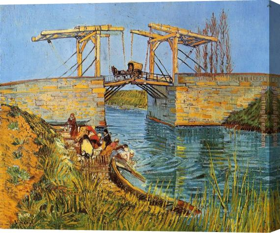 Vincent van Gogh The Langlois Bridge at Arles with Women Washing Stretched Canvas Painting