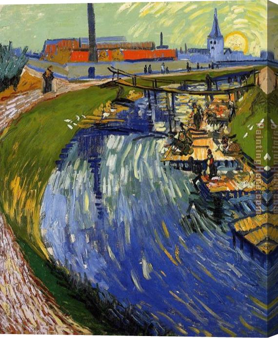 Vincent van Gogh Women Washing on a Canal Stretched Canvas Painting