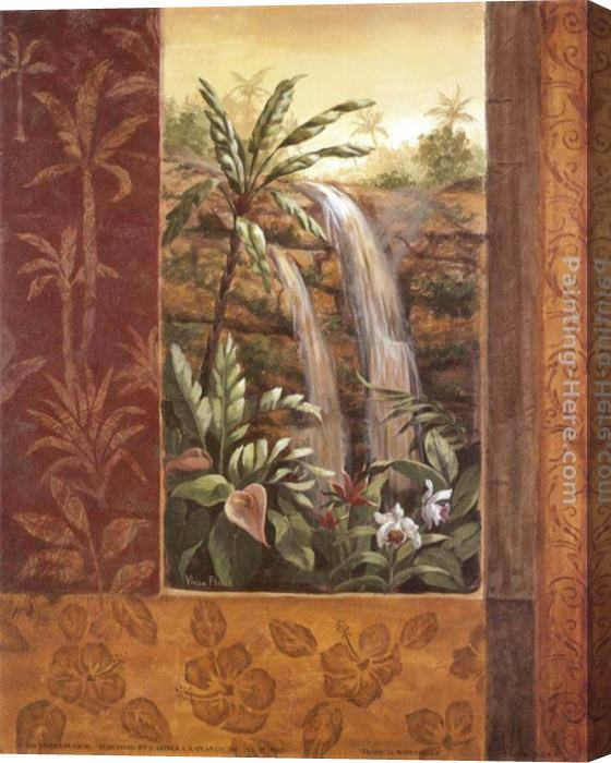 Vivian Flasch Tropical Waterfall I Stretched Canvas Painting