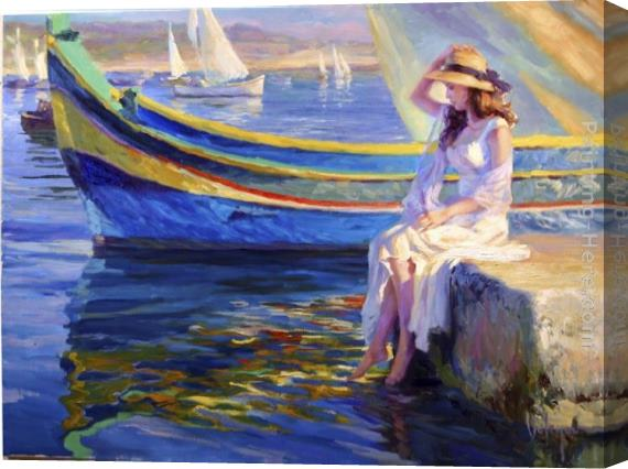 Vladimir Volegov Malta Waterfront Stretched Canvas Painting