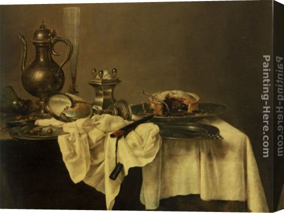Willem Claesz Heda A blackberry pie, an upturned cup, salt cellar, wine ewer, roemer knife, tablecloth draped peweter plates Stretched Canvas Painting
