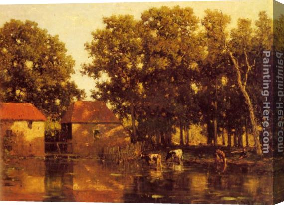 Willem Roelofs A Sunlit River Landscape With Cows Watering Stretched Canvas Painting