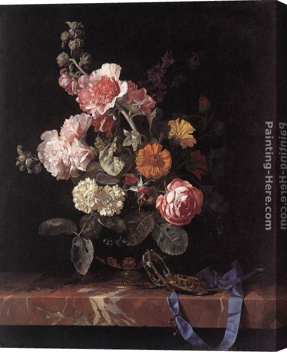 Willem van Aelst Vase of Flowers with Watch Stretched Canvas Painting
