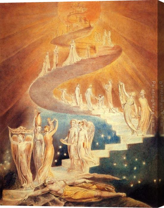 William Blake Jacob's Ladder Stretched Canvas Painting