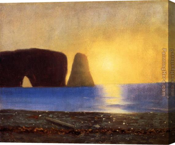 William Bradford The Sun Sets, Perce Rock, Gaspe, Quebec Stretched Canvas Painting