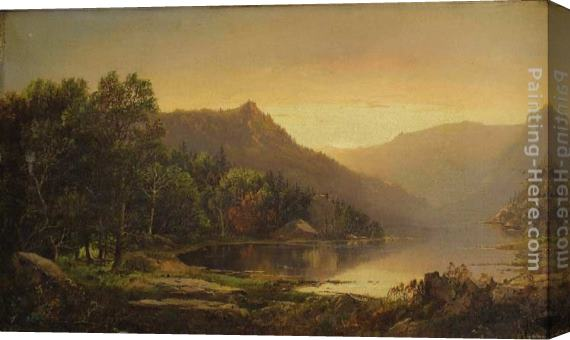 William Louis Sonntag New England Mountain Lake at Sunrise Stretched Canvas Painting