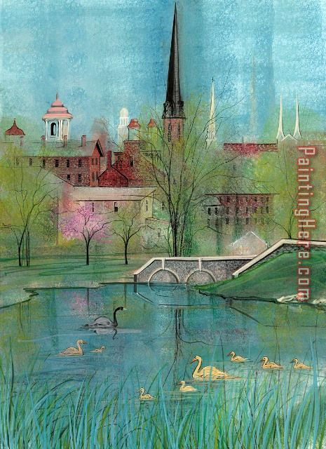 Springtime Spires at Carroll Creek painting - 2017 new Springtime Spires at Carroll Creek art painting