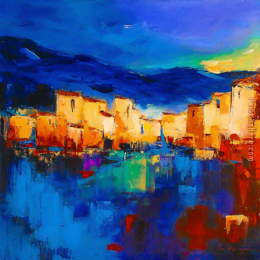 2017 new Sunset Over The Village Art Painting