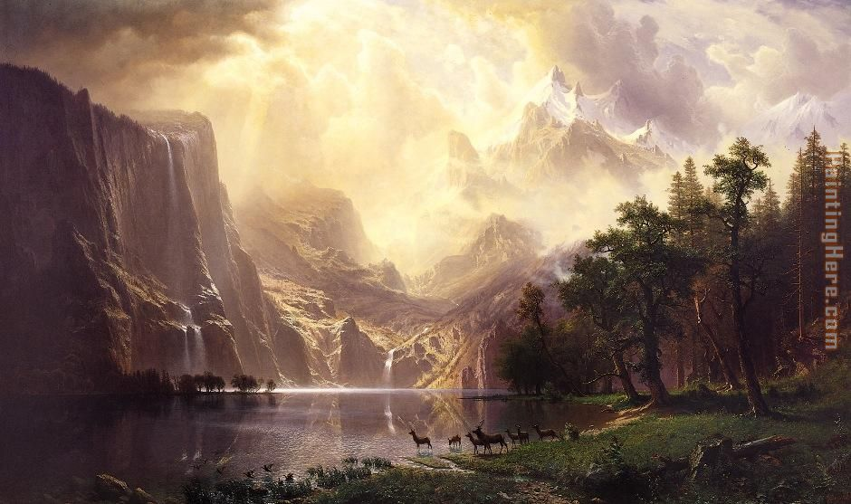 Among the Sierra Nevada Mountains California painting - Albert Bierstadt Among the Sierra Nevada Mountains California art painting