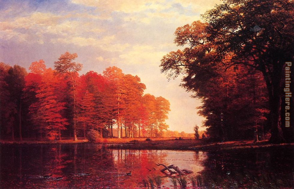 Albert Bierstadt Autumn Woods Art Painting