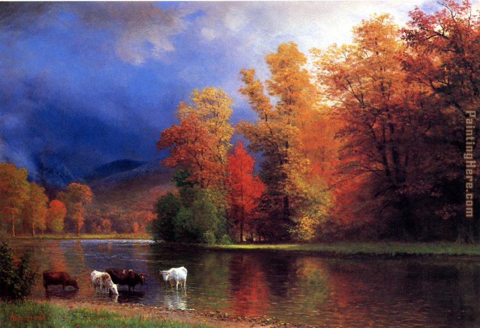 On the Saco painting - Albert Bierstadt On the Saco art painting