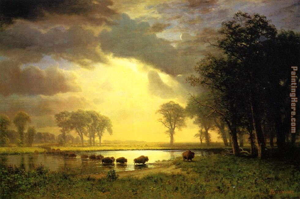 Albert Bierstadt The Buffalo Trail Art Painting