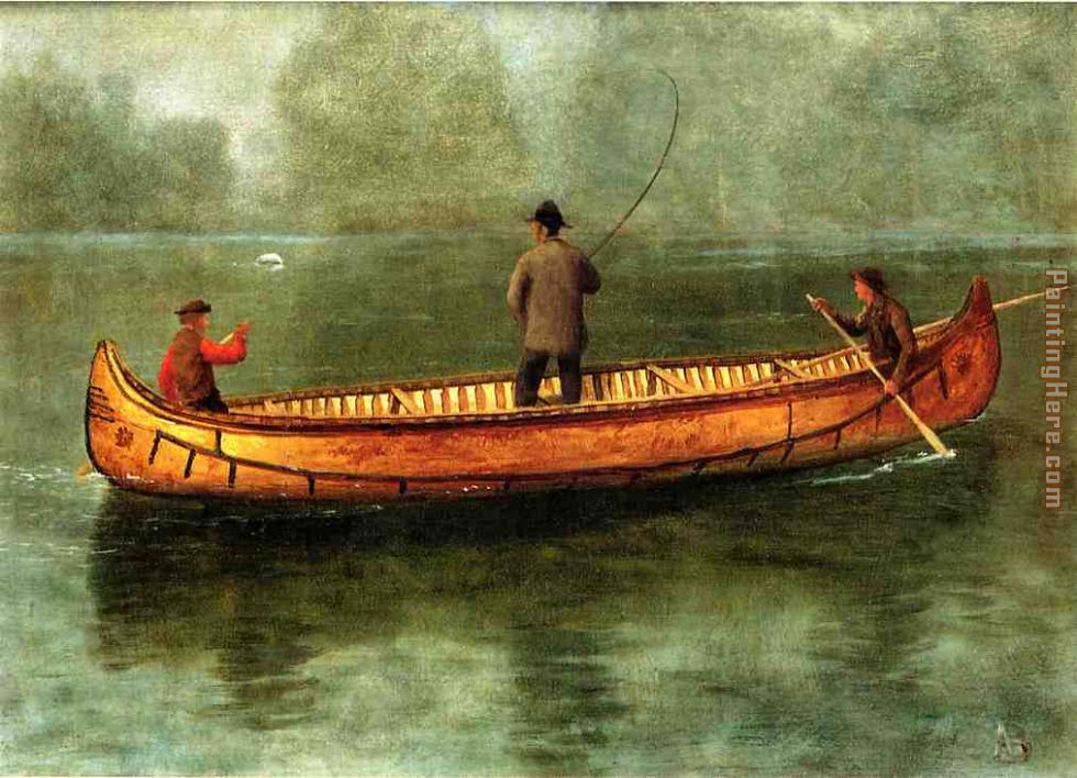 Fishing from a Canoe painting - Albert Bierstadt Fishing from a Canoe art painting